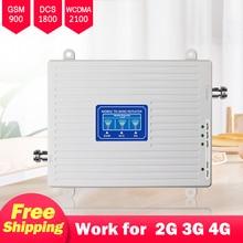Amplificador de señal 2g 3g 4g, repetidor GSM 900 LTE 1800 UMTS 2100, tribanda de refuerzo celular