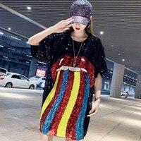 #4232 3d Sequins T Shirt Women Long Black Oversize Loose Long T Shirts Harajuku Shinny Colorful Striped Punk Rock Streetwear