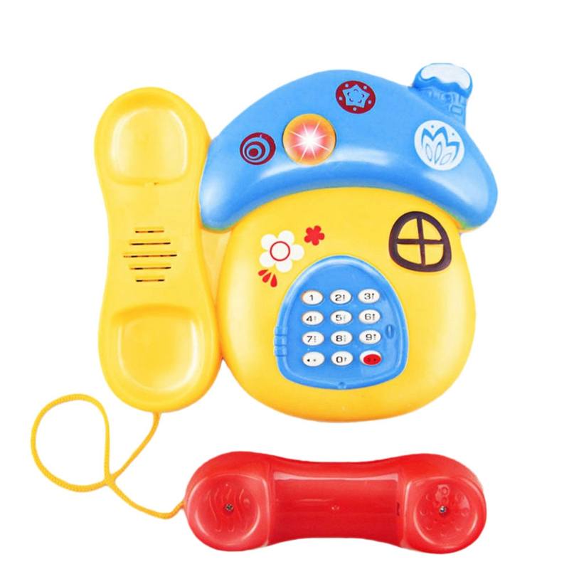 Baby Toys Sound Light Early Childhood 0-12 Months Cartoon Mushrooms Telephone Children Musical Electronic Toy Phone Random Col