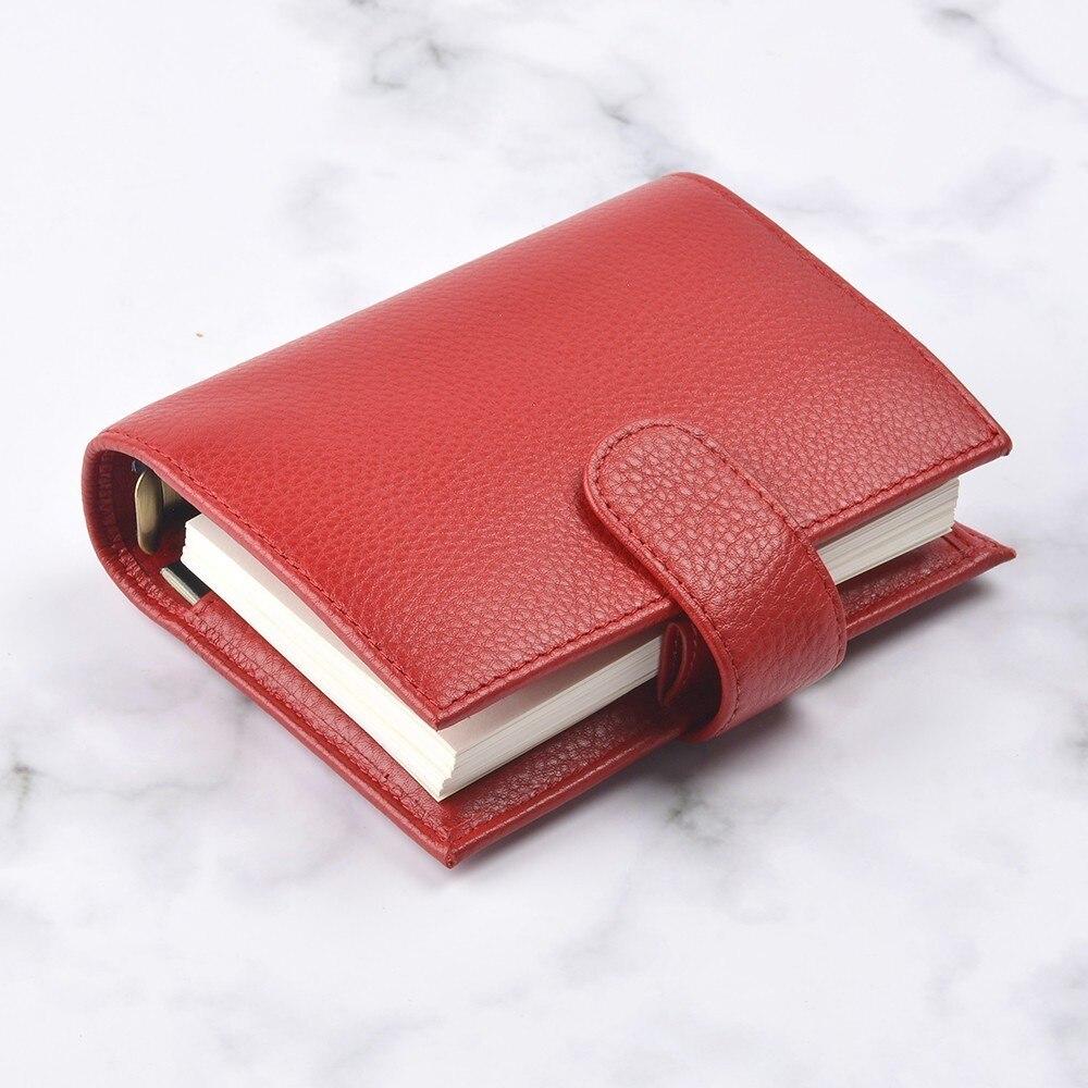 Nouveaux arrivants anneaux en cuir véritable carnet A7 taille en laiton classeur Mini Agenda organisateur en cuir de vachette Journal planificateur grande poche - 6
