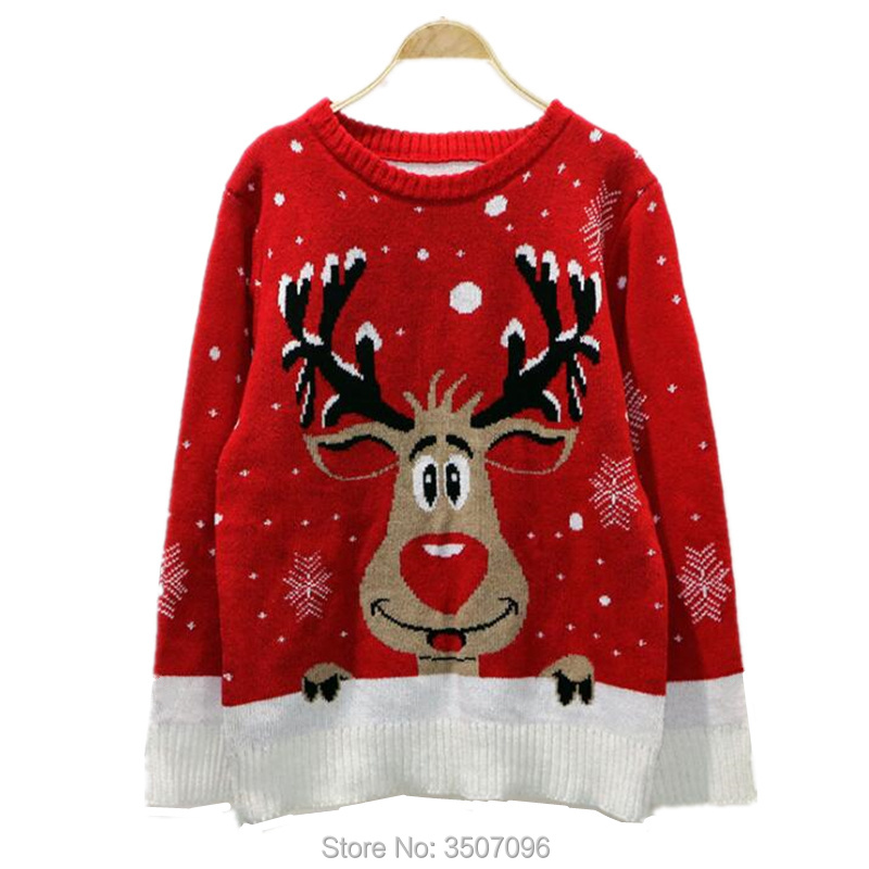 Women Christmas Sweater Autumn Winter Reindeer Knitted Jumper Festival Costume Lover Family Matching Xmas Deer Outwear Tops