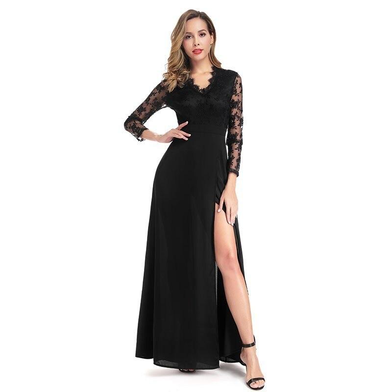 Elegant   Evening     Dresses   Long A-Line V-Neck Full Lace Sleeve Formal   Dresses   EB07827BK Sexy High Split Party   Dresses