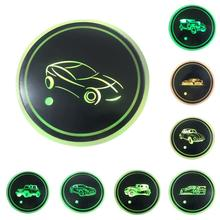 2 PCS Car LED Light Coaster Anti-slip Luminous Automatic Induction Cup Pad Auto Interior Atmosphere Lamp Decoration Accessories