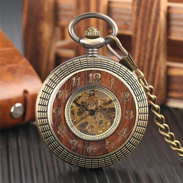 Conception en bois de luxe montre de poche mécanique Vintage exquis pendentif montre creux main remontage montre cadeaux chaîne en Bronze avec