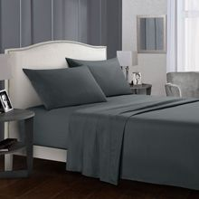 Pure Color Bedding Set Brief Bed Linens Flat Sheet+Fitted Sheet+Pillowcase Gray Soft comfortable white Bed set38