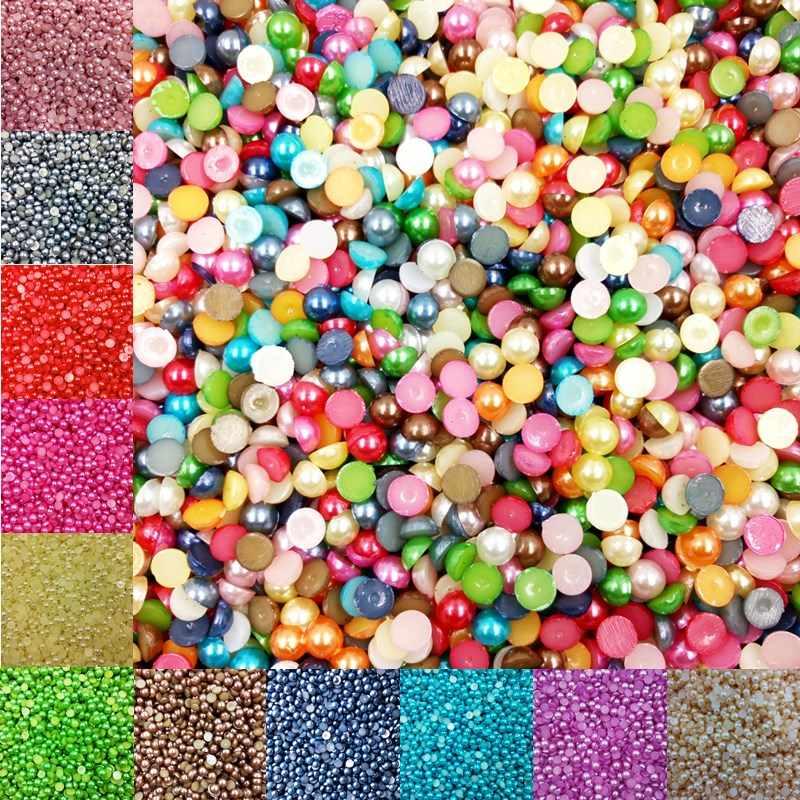LNRRABC vente 4mm 1000 pièce/lot demi ronde perles acryliques pour Nail Art téléphone maison bricolage décoration