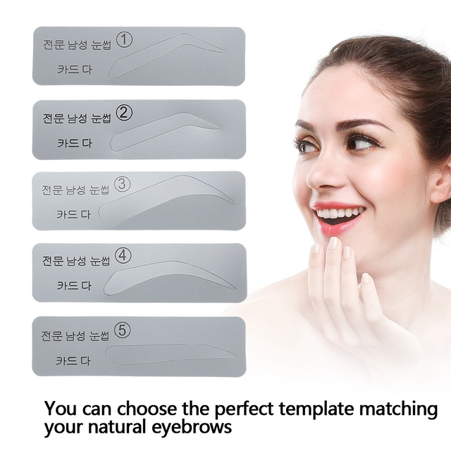 brand new 5pcs plastic eyebrow template shaper DIY eyebrow sticker makeup models eyebrow molding stencils eyebrows shaping tools 4