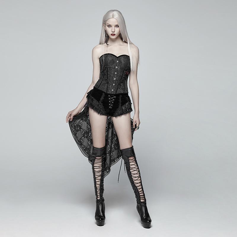 Панк Rave Для женщин Lolia Lace up Lace Hem Velvet шорты с длинными оборками WK354XDF - 4