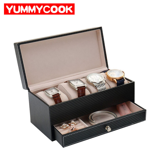 PU Leather Black Classic Watch Case Display Box Women's men Jewelry Earrings Necklace Storage Organizer Accessories Supplies