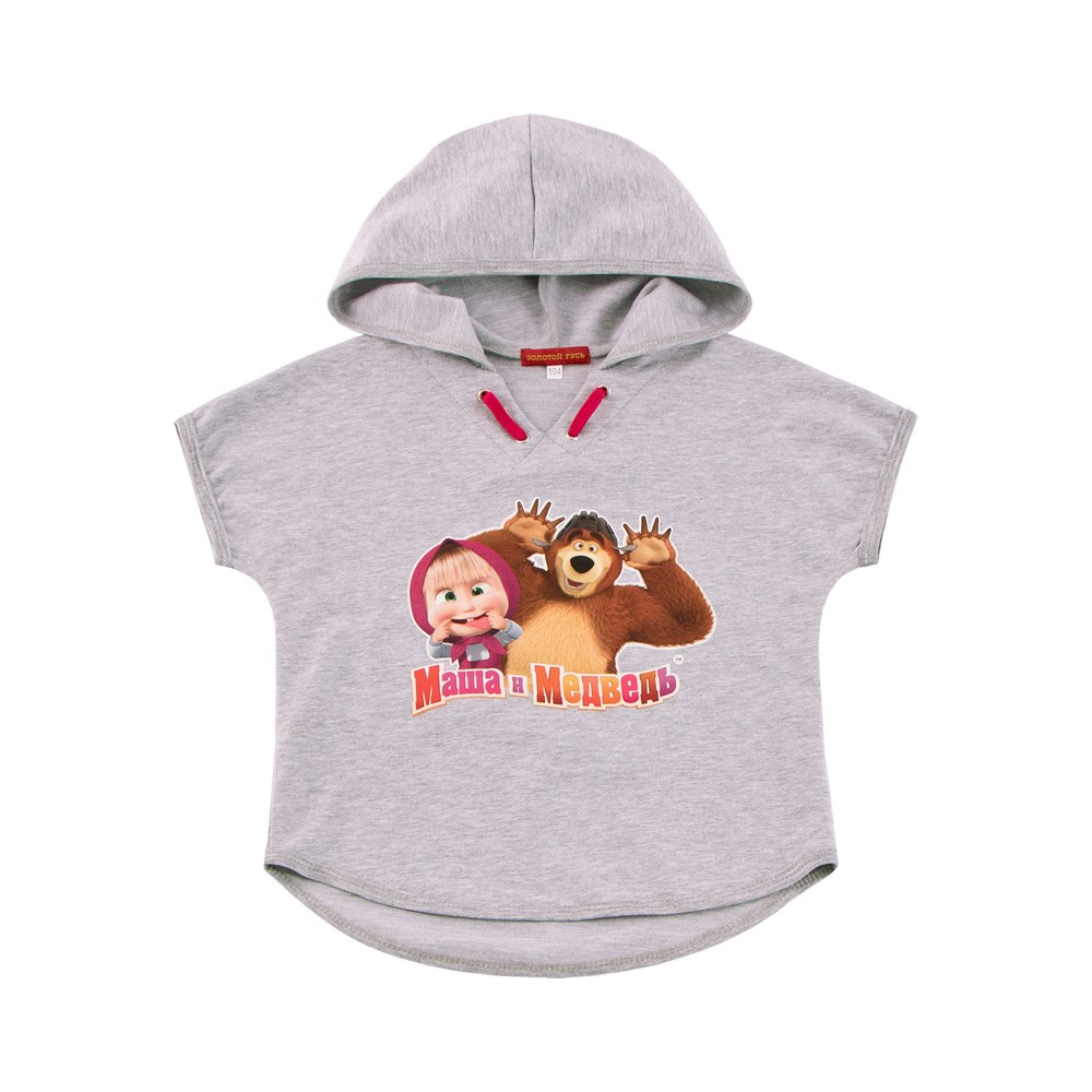 Masha and the Bear Shirt poncho with a hood gray melange M hood shock absorber rival a st 3802 1