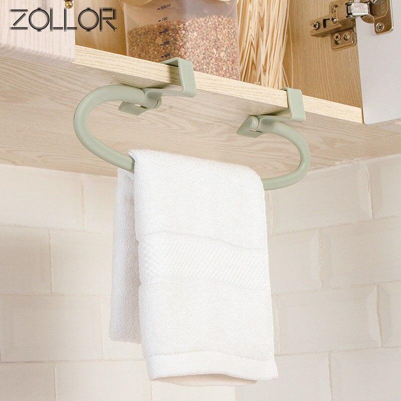 ZOLLOR 2019 New Punch-free Bathroom Door Rear Hanging Rack Kitchen Door Back Drying Rag Drain Rack Storage Shelves