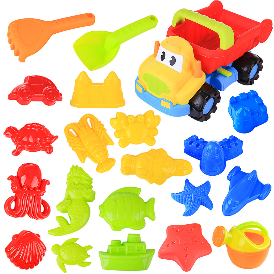 21Pcs Large Size Summer Beach Sand Toys Sand Water Toys Plastic Beach Car Vehicle Playset For Kids Children Kit Pools Water Fun