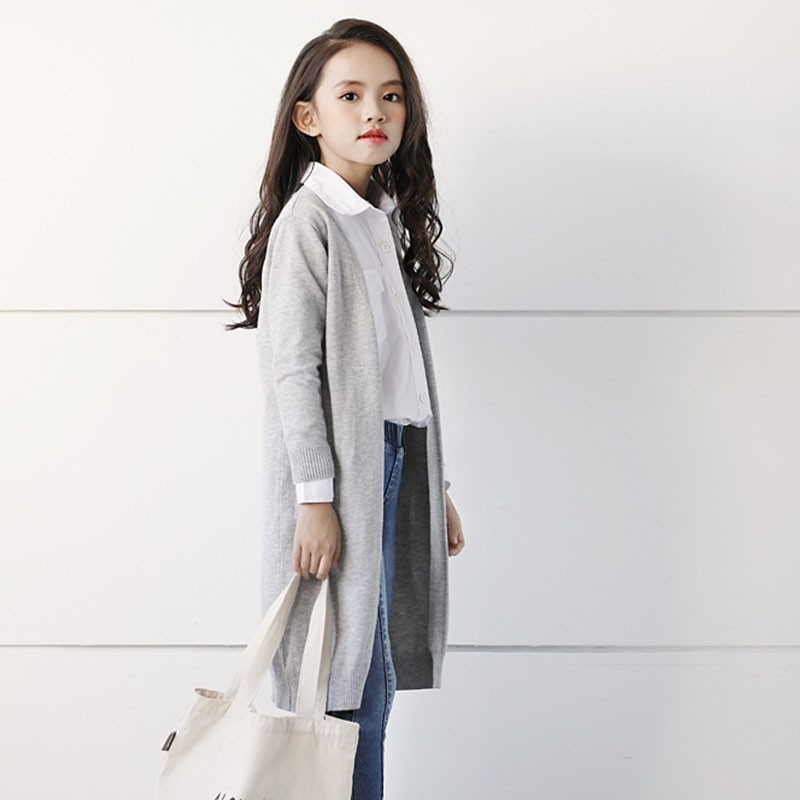 Spring 2019 Fashion X Long Knit   Trench   Coats For Teenage Girls Solid Cotton V-neck Kids Overcoat Children Outerwear Top Clothing