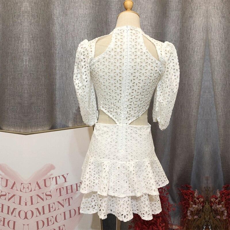Color Bianco Da Fuori Picture Alta Esposti Donna Di Qualità Soffio Della Vestito Del Elegante Mini Breve Vita Festa A Manica Scava wZqHRqTt