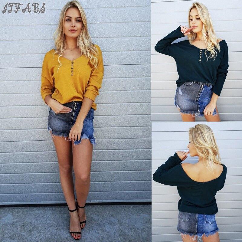 1e46130469 Marki nowych kobiet na co dzień stałe przycisk damskie bluzki z długim  rękawem luźna koszula bluzka