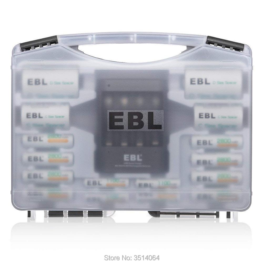 EBL Piles Rechargeables Combo (8 Piles AA + 4 Piles AAA) avec 40 Min iQuick Chargeur De Batterie + 2 pièces C/D Convertisseurs