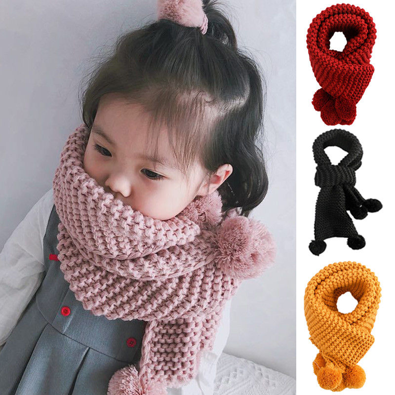 kids Scarves or Wraps Kids Winter Warm Knit Scarves Wraps Fashion Solid Color Scarf Girls with  Poms Fashion Scarves Girls