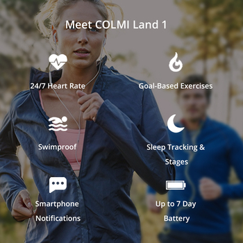 COLMI Land 1 Full touch screen Smart watch IP68 waterproof Bluetooth Sport fitness tracker Men Smartwatch For IOS Android Phone 1