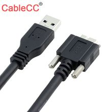 Cablecc USB 3.0 to Micro B AM Male to Male Panel Mount Cable with Screws Data Transfer Extension Wire 1.2M Black usb 3 0 am to micro b male cable 1 8m length