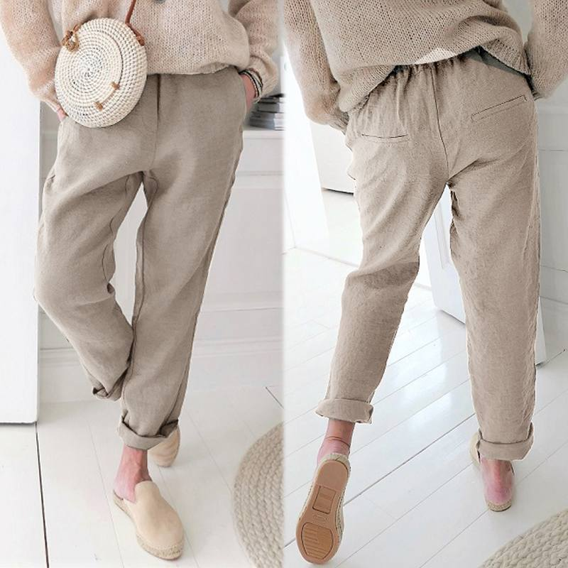 Women Elastic High Waist Baggy Cotton Linen Harem Summer Pants Trouser Plus Size