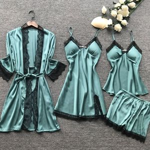 Image 5 - Lisacmpvnle 4 Pcsชุดนอนชุดนอนเซ็กซี่กับทรวงอกPad Nightdress + กางเกงขาสั้น + เสื้อสเวตเตอร์ถักชุดนอน
