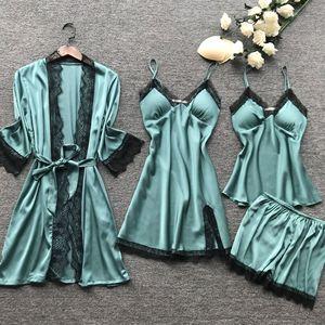 Image 5 - Lisacmpvnle 4 Pcs Women Pajamas Lace Sexy With Chest Pad Nightdress+Shorts+Cardigan Sleepwear