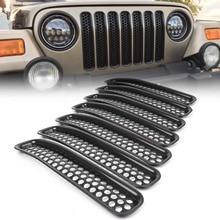7 шт. передняя решетка крышки вставки сетки гриль для Jeep Wrangler TJ 1997 1998 1999 2000 2001 2002 2003 2004 2005 2006 аксессуары