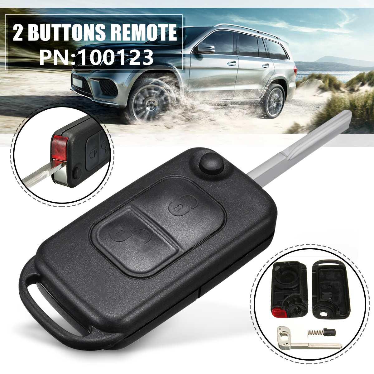 Clé de remplacement verrouillage 2 boutons   Télécommande de remplacement avec porte-clés à lame HU64 pour Benz A C E S classe MB étui