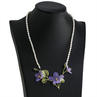 Free shipping new product African purple violet natural peals necklace