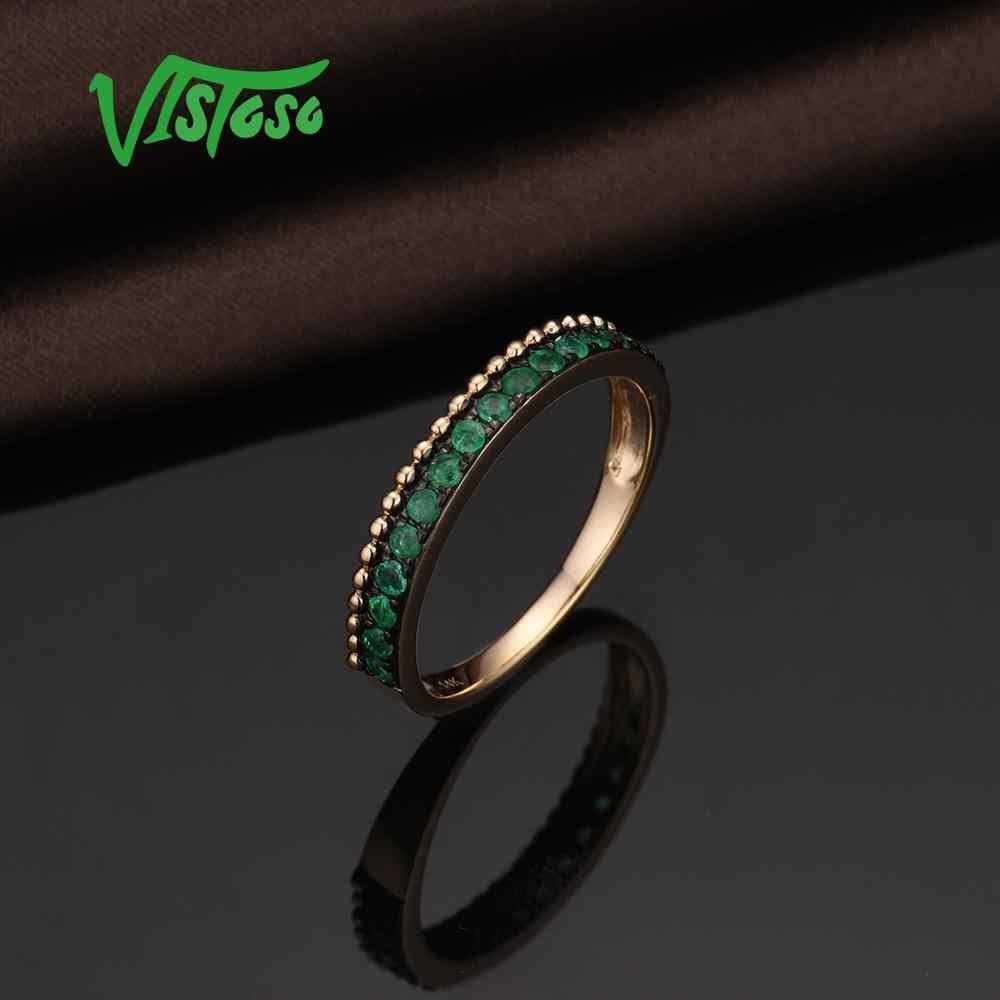 Vistoso anéis de ouro para mulher genuína 14 k 585 anel de ouro amarelo cintilante luminoso esmeralda luxo anéis de noivado jóias finas