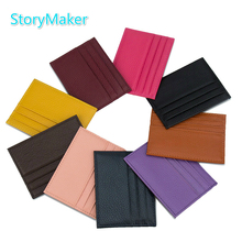100% Genuine Leather Id Card Holder Multi Slot Slim Bank Trip Case Candy Color Mini Credit Travel Map Coverage