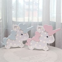 Nordic Unicorn Wall Decoration Battery LED Night Lamp Lovely Children Rome Decorative Lights For New Year Birthday Gift Hot Sale