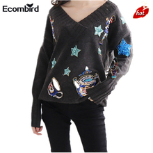 2017 Winter Women Runway Designer Sweater HIGH Quality Long Sleeve V-neck Teapot Star Sequined Wool Knitted Gray Femal Pullovers