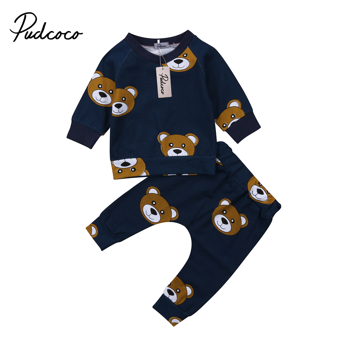 Cute Carton Bear <font><b>Baby</b></font> Boy <font><b>Girl</b></font> <font><b>clothes</b></font> set sweatshirt T-shirt Pants Legging Outfit for <font><b>Newborn</b></font> Infant Kid Clothing winter <font><b>Autumn</b></font> image