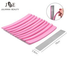 Pink Double Sided Nail File Calluses Remover Stainless Steel Handle Sand Paper With 10 pcs Replacement Sand Buffer Paper Sponge