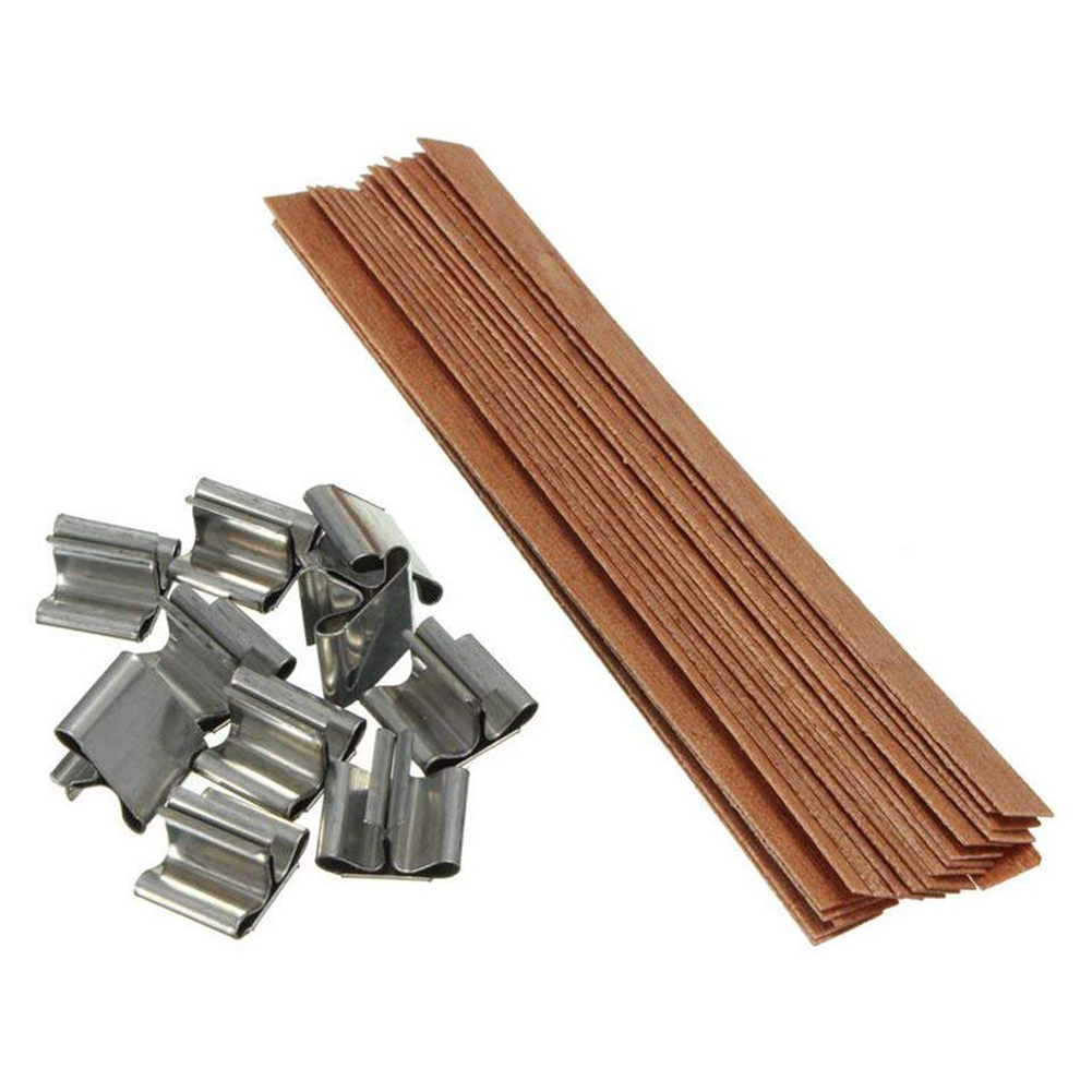 Wood Candle Wicks Diy: 50Pcs Wood Wicks With Sustainer Genuine Wooden Wicks Clips