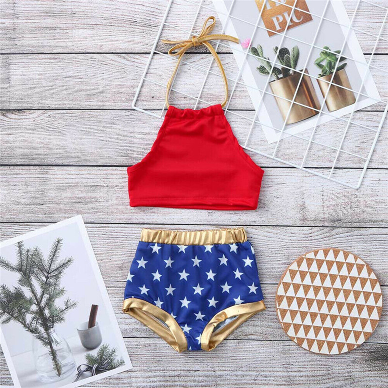 2019 New Summer Kids Baby Girl 4th Of July Bikini Set Cute Star Print 2Pcs Swimwear Swimsuit Bathing Suit 1 To 6Y