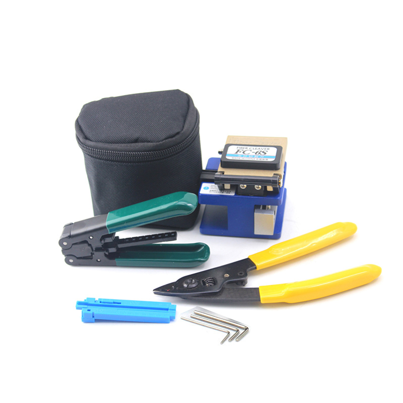Fiber Optic FTTH Tool Kit with FC 6S Fiber Cleaver Cutter, Fiber Optical Stripper Wire Stripper Miller Clamp Fixed length Device