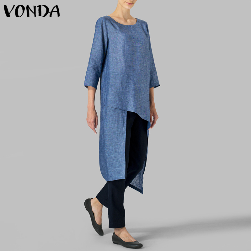 VONDA Fashion Women Blouses Shirt 2019 Vintage O Neck Irregular Hem 3/4 Sleeve Casual Shirts Sexy Blusas Femininas Plus Size Top