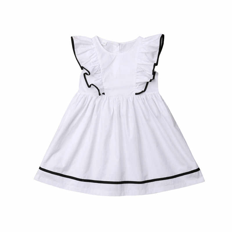 541a8b797cb 2019 New Trendy Toddler Baby Girls Dress Kids Ruffle Dresses Summer  Sleeveless White Round Neck Solid