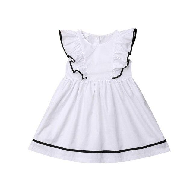 93ef66e39e8 Trendy Toddler Baby Girls Dress Kids Ruffle Dresses Summer Sleeveless White  Round Neck Solid White Girl Party Princess 3-11T