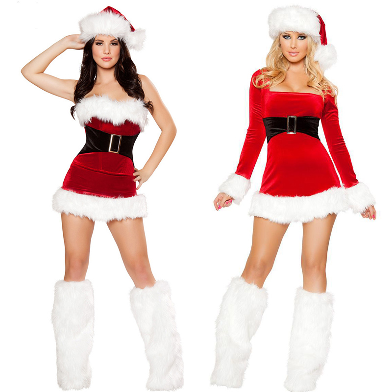 Adult Women Velvet Christmas Santa Claus Fancy Dress Sexy Ladies XMAS Costume