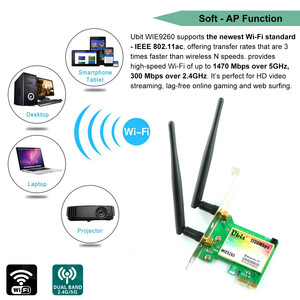 Image 3 - Ubit WiFi Card,AC 1730Mbps,Bluetooth 5.0 Dual Band Wireless Network Card, 9260 PCIe Adapter,PCI E Wireless for Desktop PC
