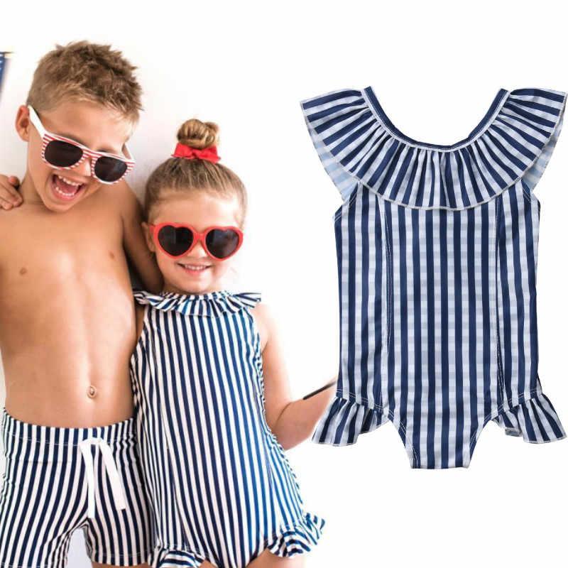 comprar gran variedad de mejor servicio 2019 verano niños niñas rayas volantes traje de baño ropa de ...