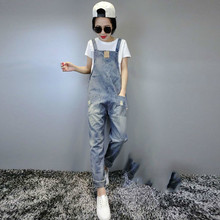 Casual Ripped Hole Denim Jumpsuit Ladies Long Pants Rompers Womencasual Loose Jumpsuit Overalls Sleeveless Boyfriend Jeans rolling hem ripped design denim suspender jumpsuit