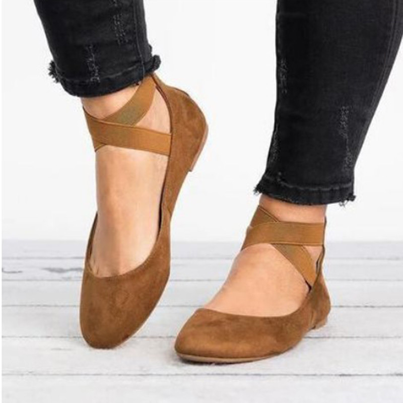 Jrnnorv Women Fashion Classic Ballerina Flats Elastic Crossing Ankle Straps Ballet Flat Yoga Flat Shoes Slip Shoes