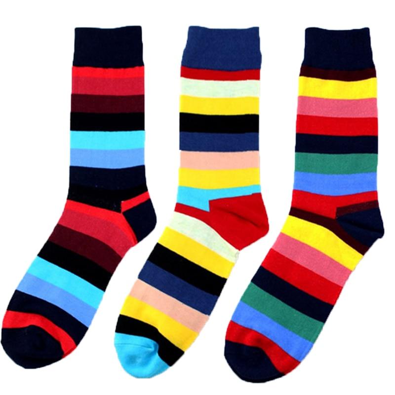 Fashion Colorful Men Socks Striped Cotton Stylish Women Socks Breathable Casual Soft Socks Men Calcetines Hombre Winter Spring