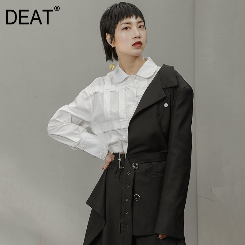 DEAT 2019 New Spring Summer Personality Bandage Half Side Buckle Button Split Joint Jacket Women