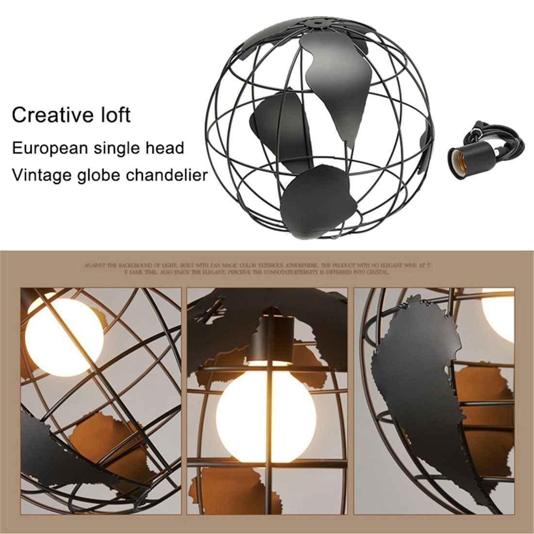 黒クリエイティブロフトコンチネンタルシングルレトログローブシャンデリア近代メタリックラウンジカジュアル天井ランプ