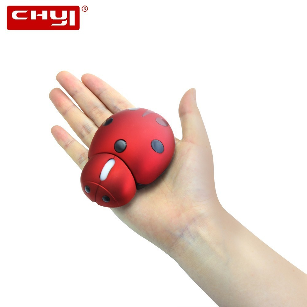 CHYI Wireless Laser Mini Ergonomic Computer Mouse Portable Creative Ladybug Shape Cute Usb Animal Mause Gift PC Mice For Laptop